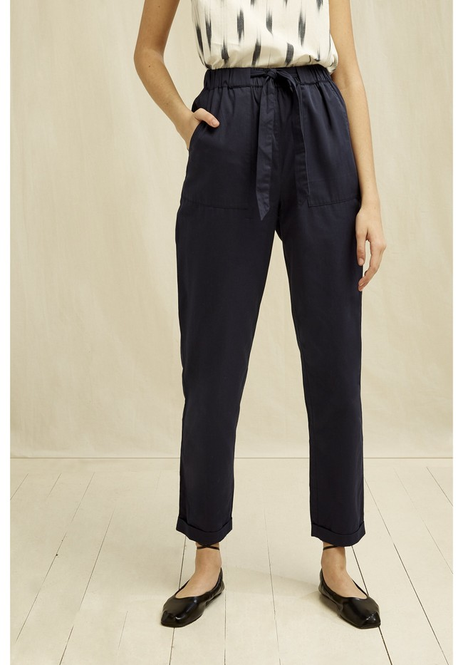 Pantalons à pinces marine en coton bio - tinsley - People Tree