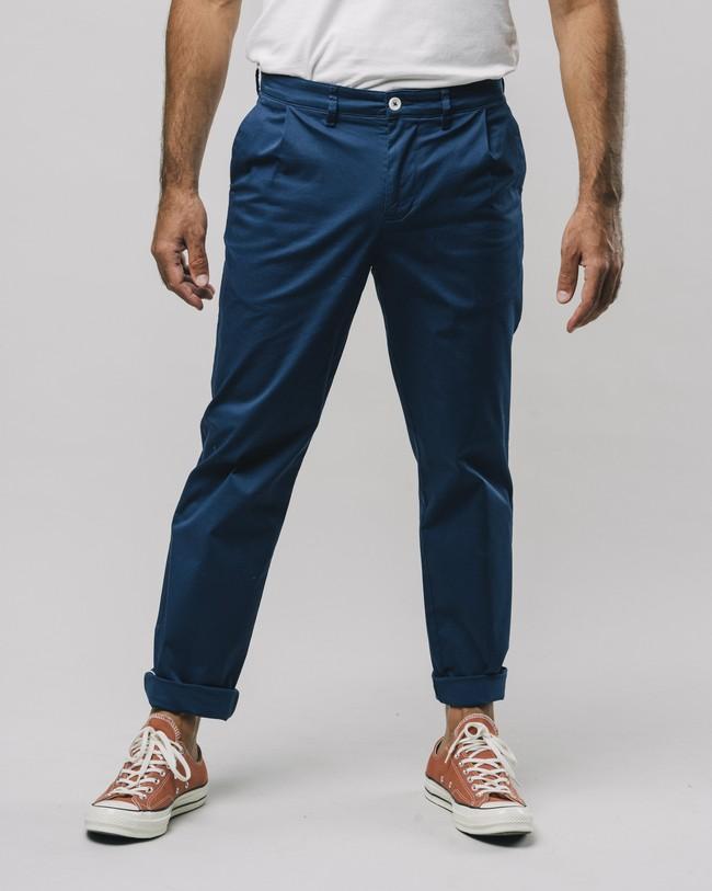 Pleated chino pants navy - Brava Fabrics