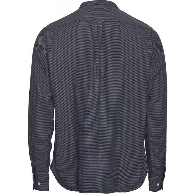 Chemise col mao rayée bleu nuit en coton bio - larch - Knowledge Cotton Apparel num 1