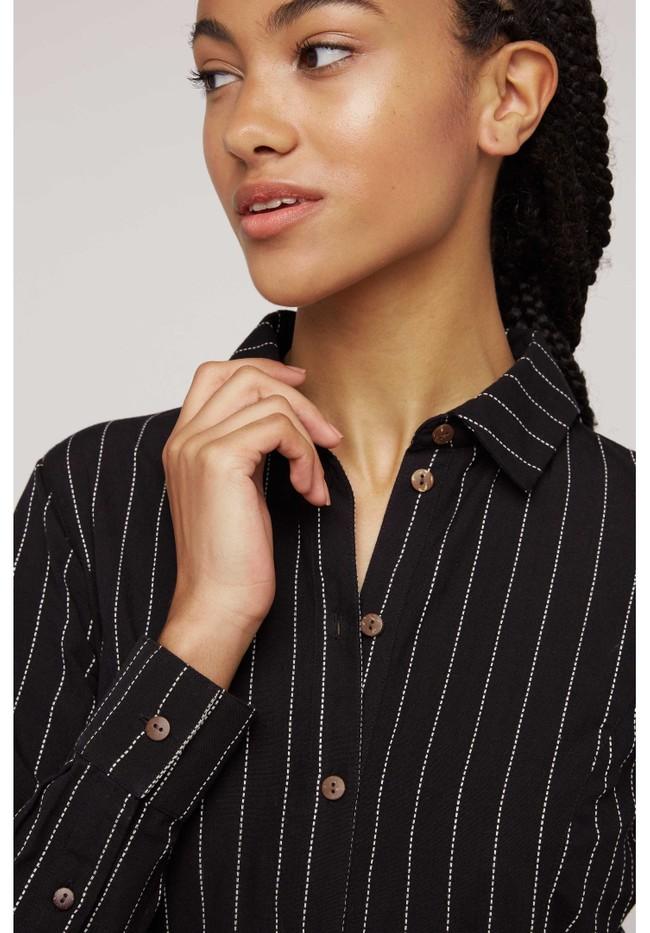 Robe chemise rayée noire en coton bio - isadora - People Tree num 1