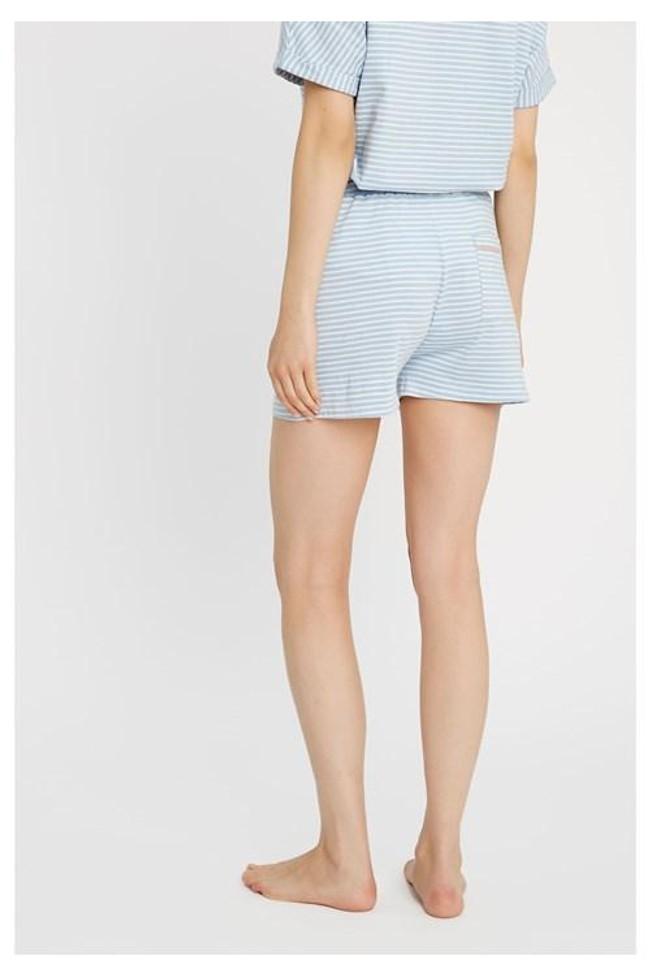 Short pyjama rayé bleu clair en coton bio - People Tree num 2
