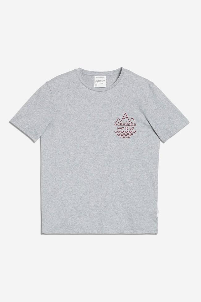 T-shirt gris en coton bio - jaames way to go - Armedangels num 3