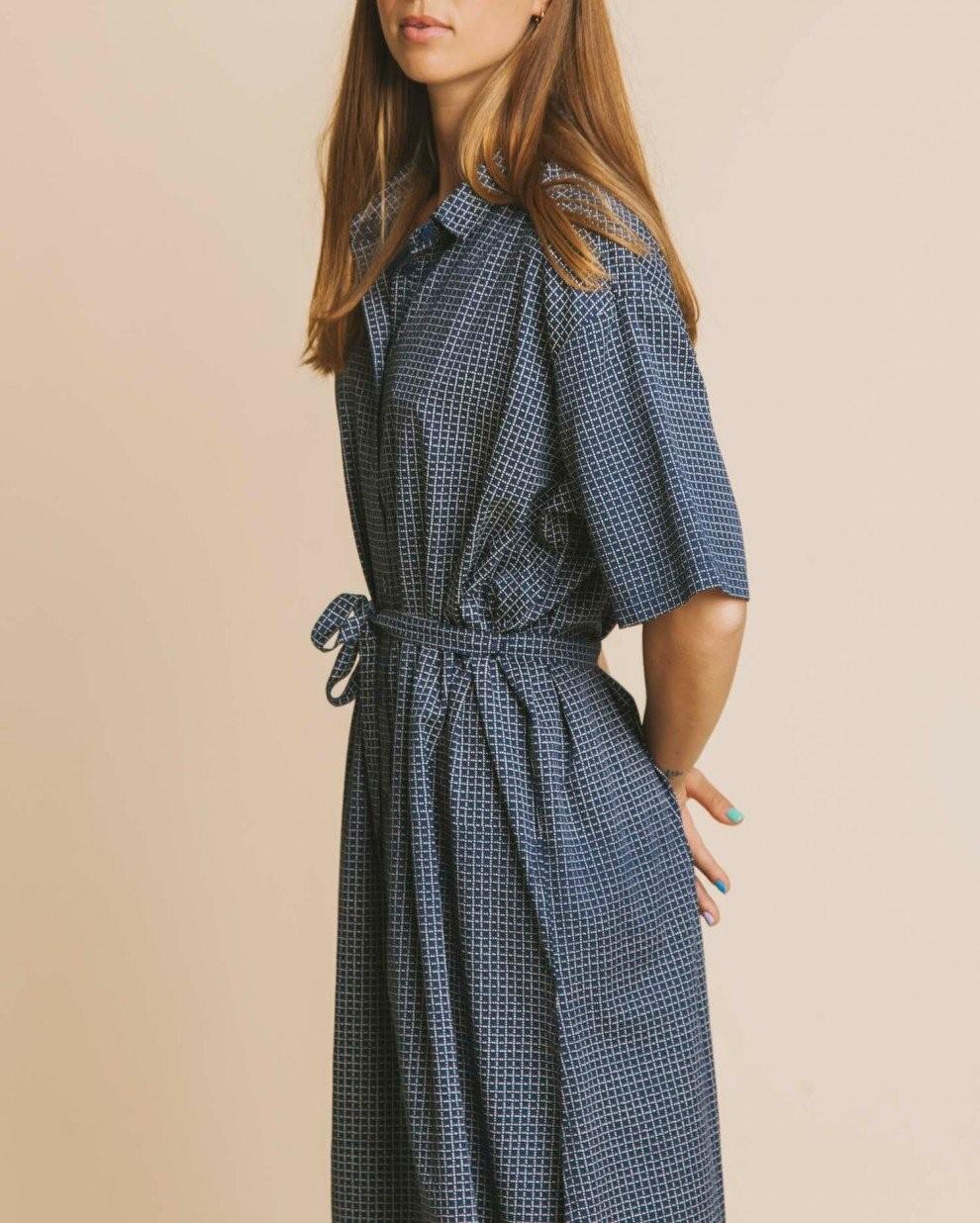 Robe longue oversize bleue en coton bio - mandy - Thinking Mu