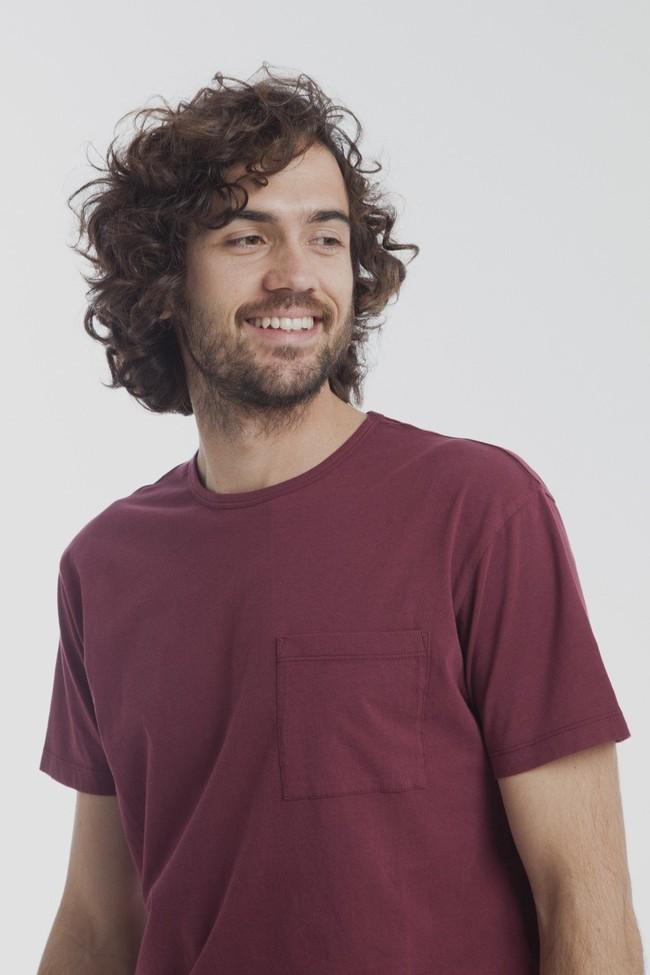T-shirt uni bordeaux avec poche en coton bio - Thinking Mu num 1