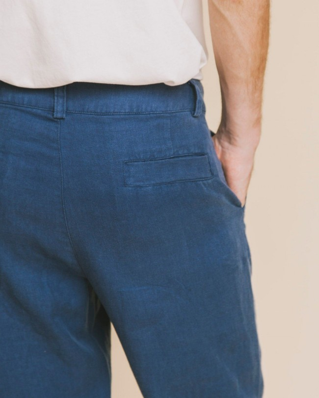 Pantalon bleu canard en chanvre et tencel - marcelino - Thinking Mu num 3