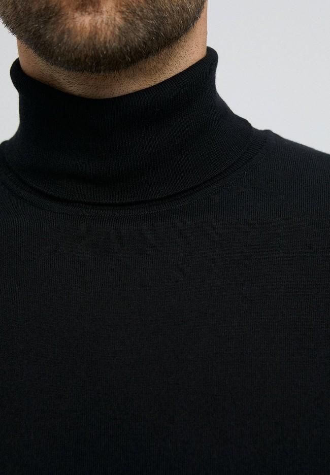 Pull col roulé noir en coton bio - glaan - Armedangels num 3