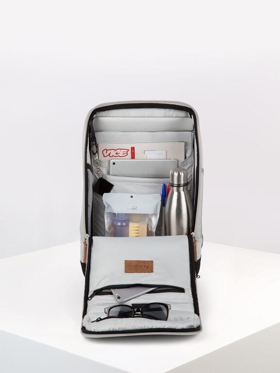 Sac à dos gris clair recyclé - cubik medium grey melange dlx - pinqponq num 4