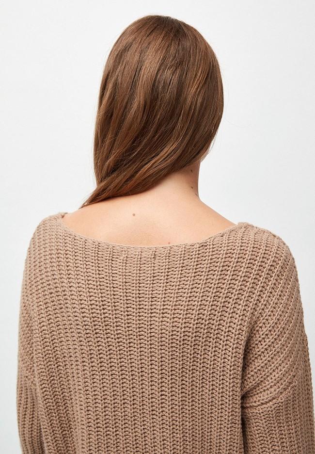 Pull ample beige foncé maille en coton et laine bio - saadie - Armedangels num 3