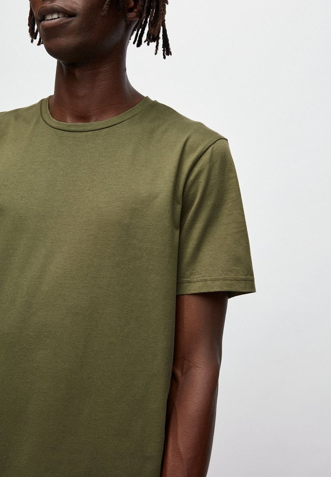 T-shirt kaki en coton bio - jaames - Armedangels num 3