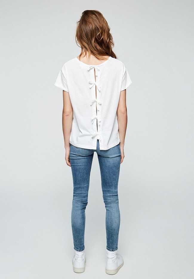 T-shirt avec nœuds blanc en coton bio - ilkaa - Armedangels