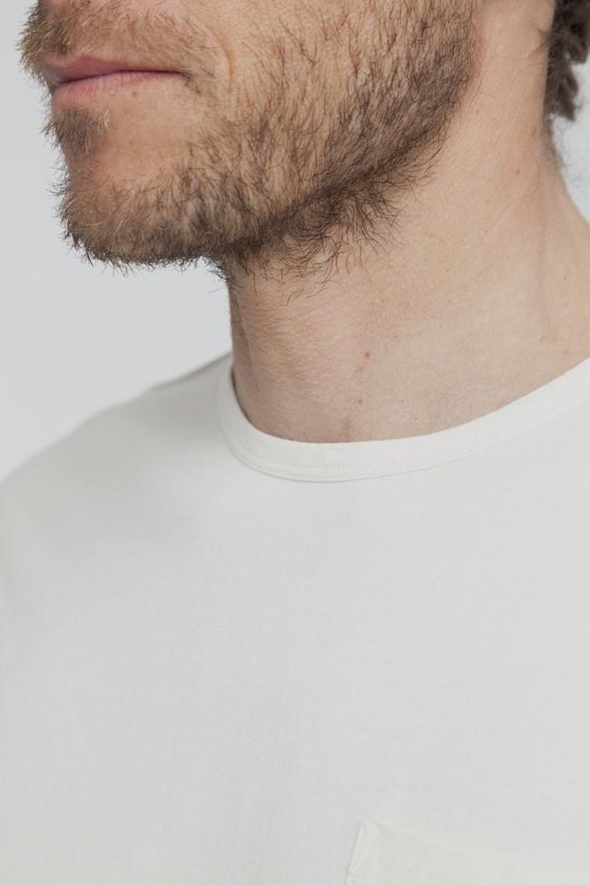 T-shirt uni blanc cassé avec poche en coton bio - Thinking Mu num 1