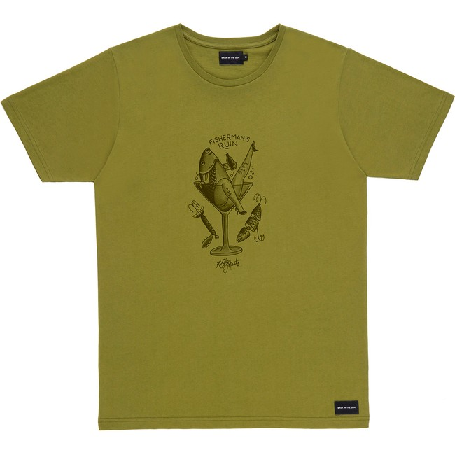 T-shirt en coton bio kaki fisherman - Bask in the Sun