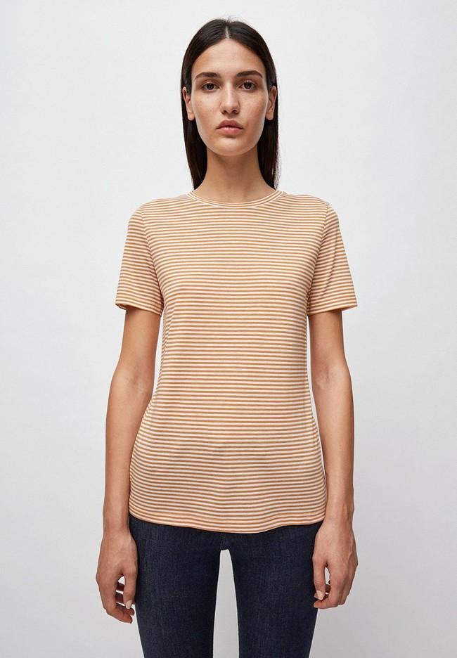 T-shirt rayures ocre en coton bio - lidaa - Armedangels
