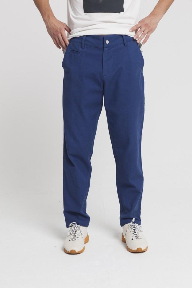 Pantalon bleu en coton bio -blue marcel - Thinking Mu