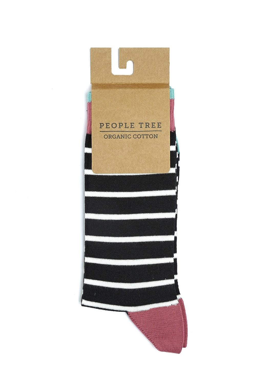 Chaussettes hautes noires rayées en coton bio - People Tree
