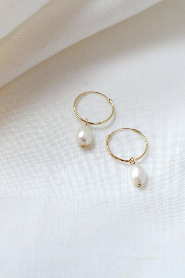 Mini créoles avec perle en or recyclé 9ct - Wild fawn num 3