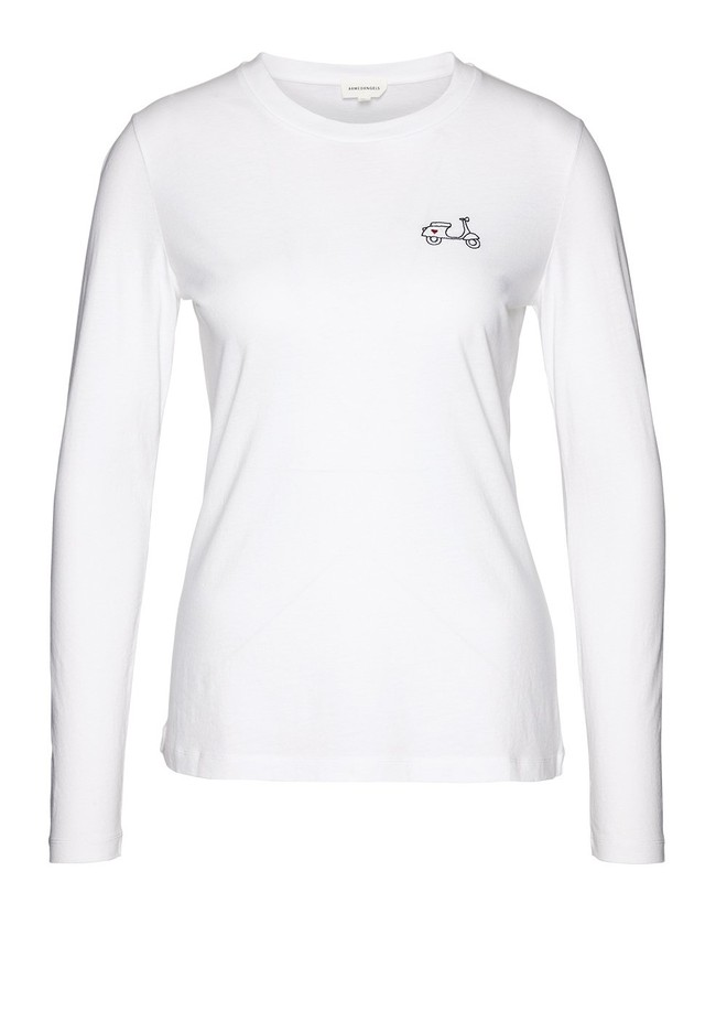 T-shirt manches longues brodé en coton biologique - laraa vespa - Armedangels num 5