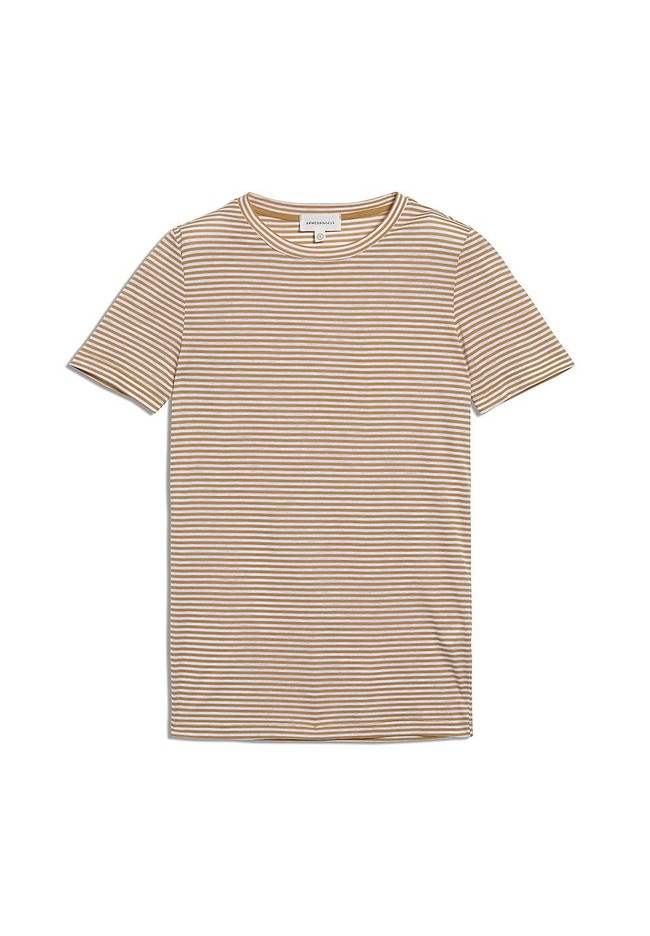 T-shirt rayures ocre en coton bio - lidaa - Armedangels num 4