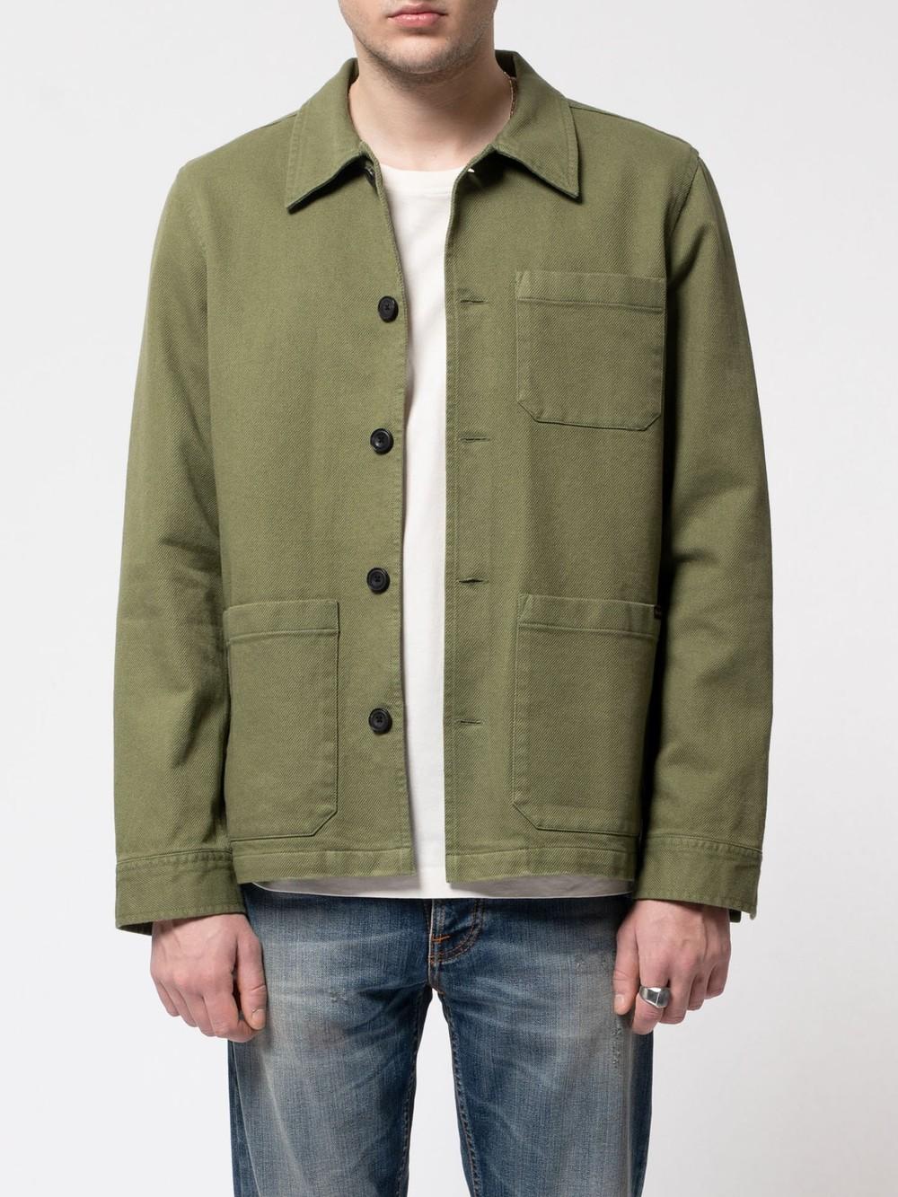 Veste de travail verte en coton bio - barney worker - Nudie Jeans