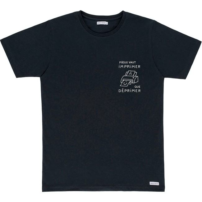 T-shirt en coton bio black printer - Bask in the Sun