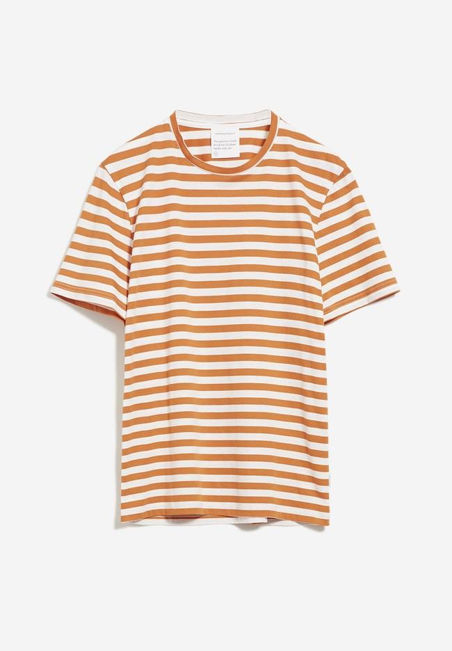 T-shirt rayé orange et blanc en coton bio - jaames breton - Armedangels num 4