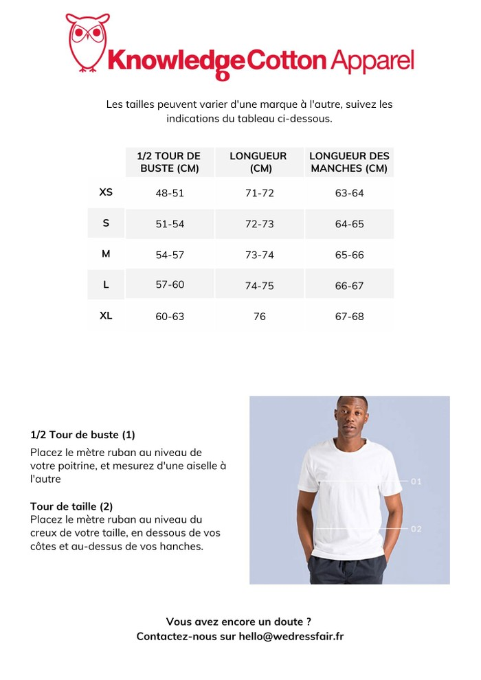 Guide de taille Knowledge Cotton Apparel