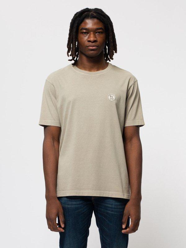 T-shirt ample taupe logo blanc en coton bio - uno njco circle - Nudie Jeans