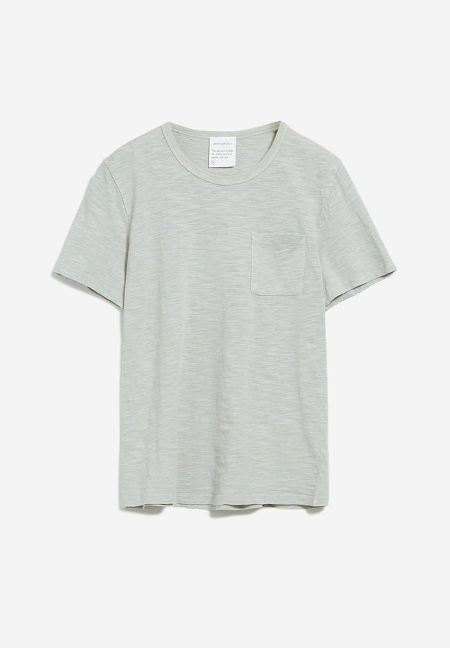T-shirt avec poche gris/vert en coton bio - paaul pocket - Armedangels num 3