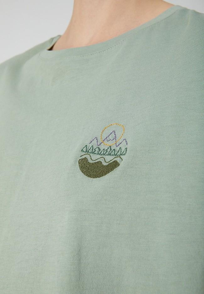 T-shirt vert en coton bio - naalin girl scout - Armedangels num 3