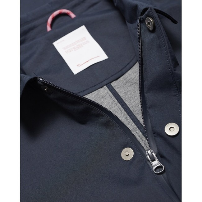 Manteau car coat bleu nuit en coton bio et polyester recyclé - beech - Knowledge Cotton Apparel num 2