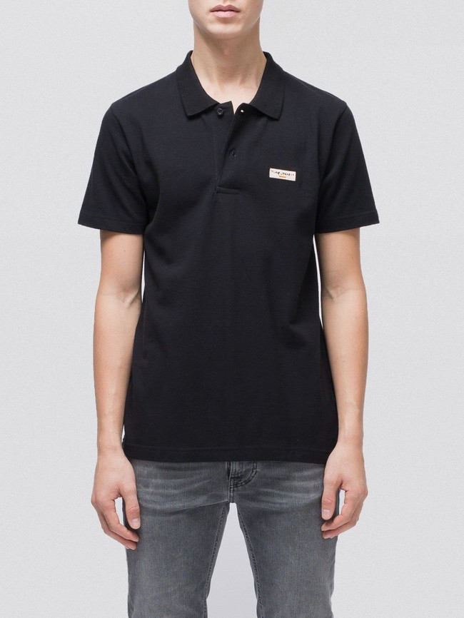 Polo uni noir en coton bio - mikael logo - Nudie Jeans