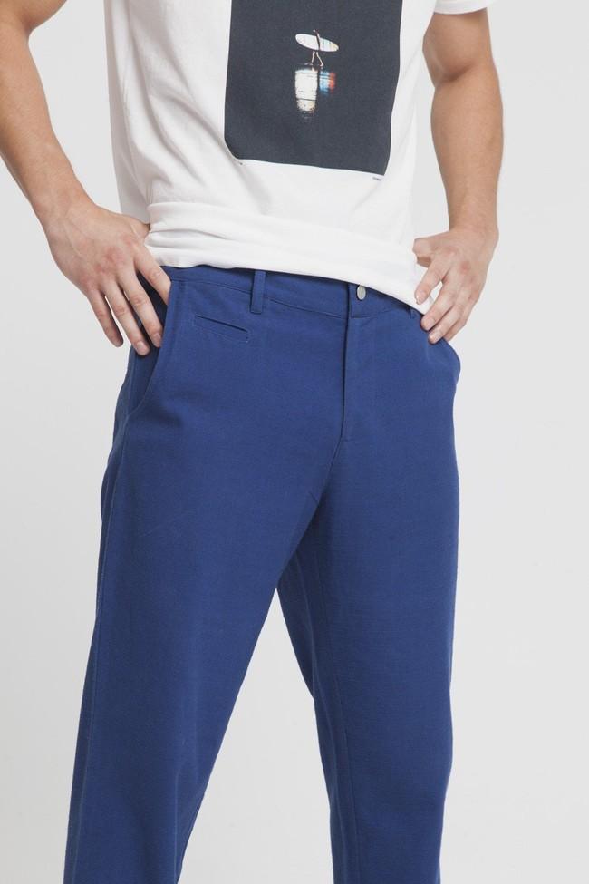 Pantalon bleu en coton bio -blue marcel - Thinking Mu num 2