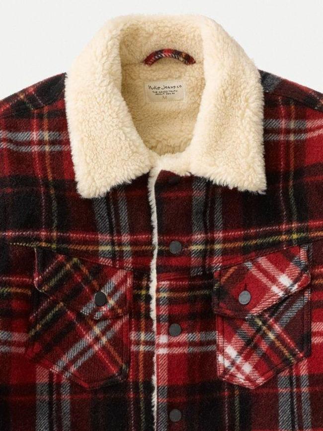 Veste sherpa carreaux rouge en laine recyclée - lenny - Nudie Jeans num 3