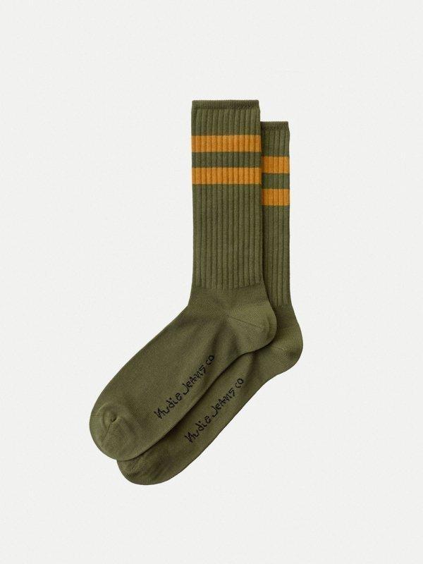 Chaussettes hautes vertes en coton bio - amundsson sport - Nudie Jeans