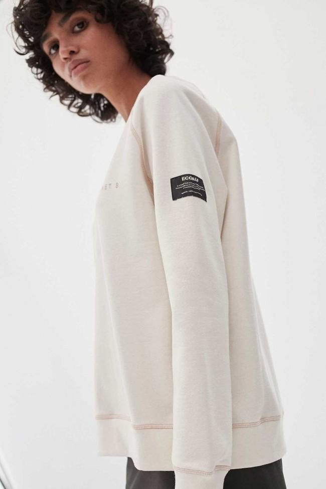 Sweat imprimé blanc en polyester recyclé - ross basic because - Ecoalf num 3
