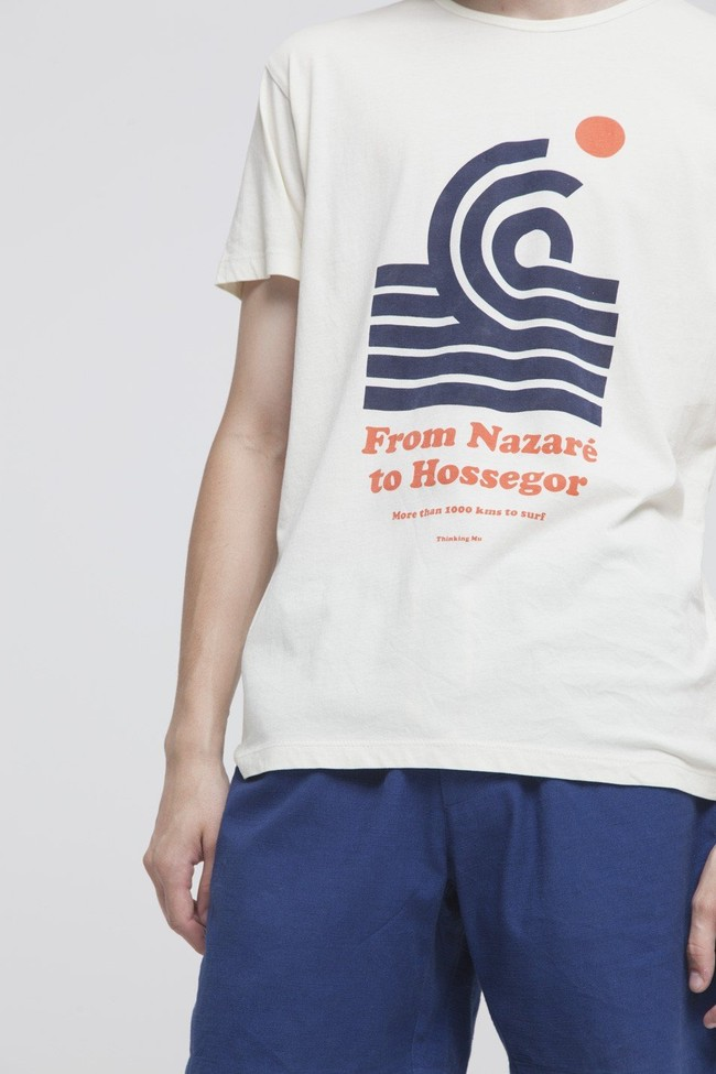 T-shirt imprimé blanc en coton bio - 1000 km to surf - Thinking Mu num 3