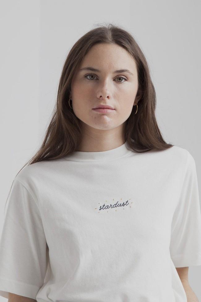 T-shirt blanc en coton bio - stardust - Thinking Mu num 2