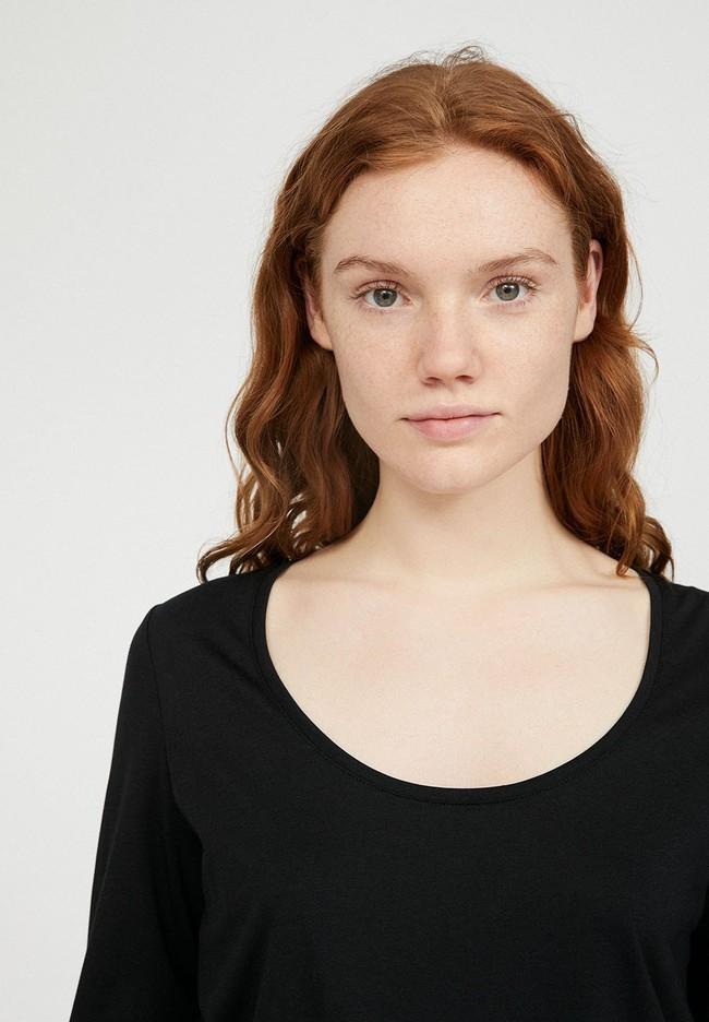 T-shirt à manches longues noir en tencel et coton bio - jamaal - Armedangels