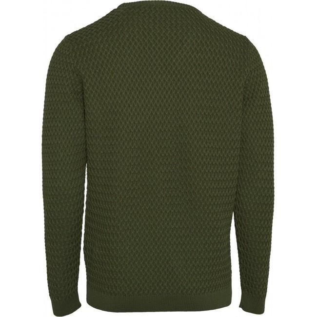 Pull vert en coton bio - small diamond knit - Knowledge Cotton Apparel num 1