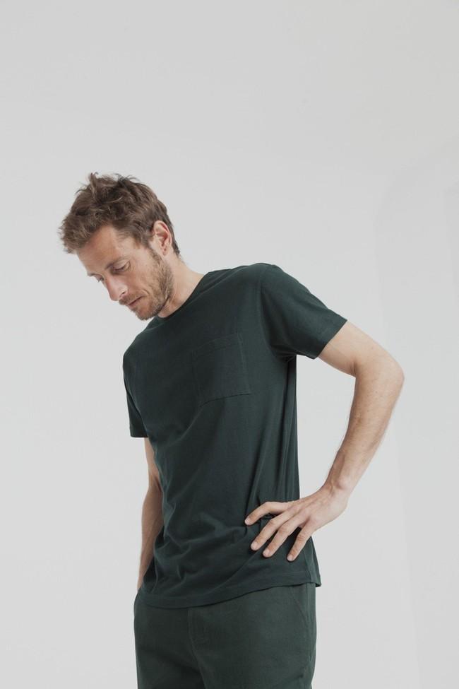 T-shirt uni vert forêt  avec poche en coton bio - Thinking Mu num 2