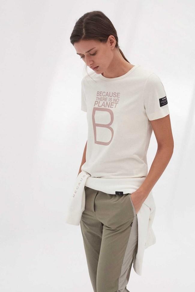 T-shirt imprimé blanc en polyester et coton recyclés - mariela big b - Ecoalf num 1