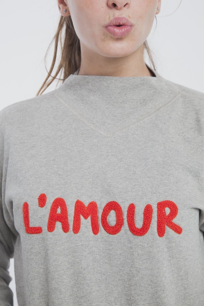 Sweat gris en coton bio - l'amour - Thinking Mu num 2