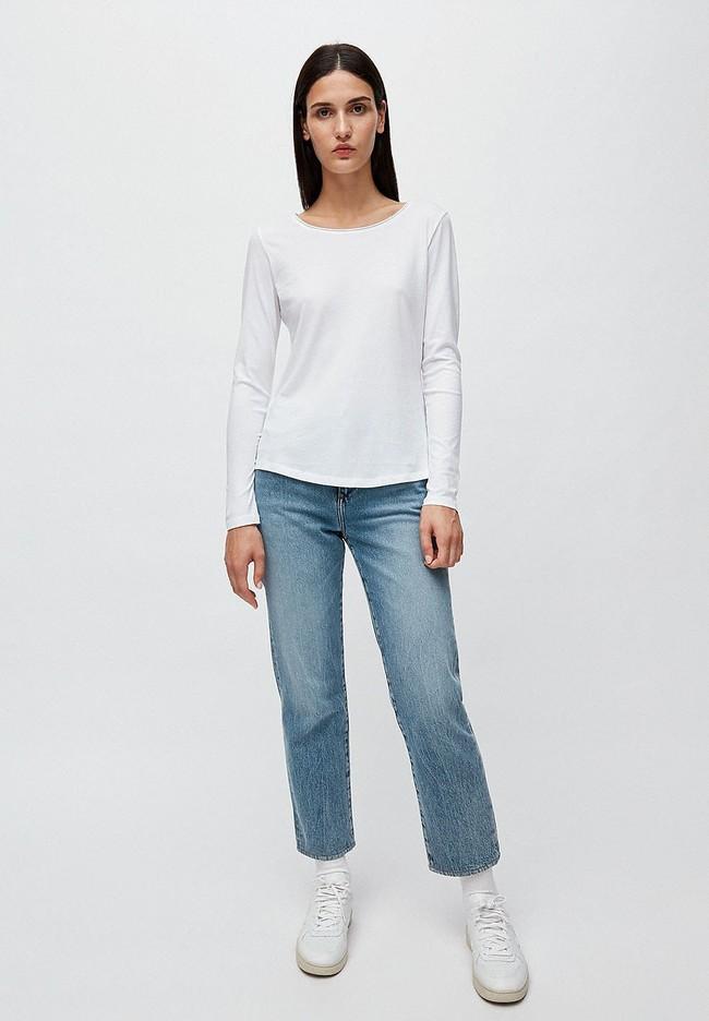 T-shirt manches longues blanc en coton bio - rojaa - Armedangels num 1