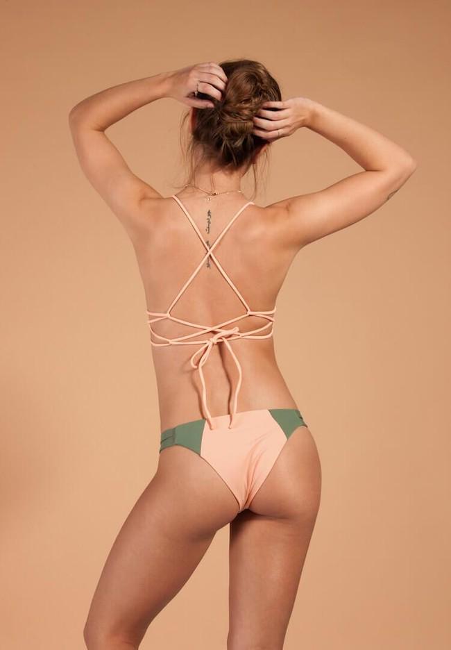 Haut de bikini rose en polyamide recyclé - trinic - Ocealah num 1