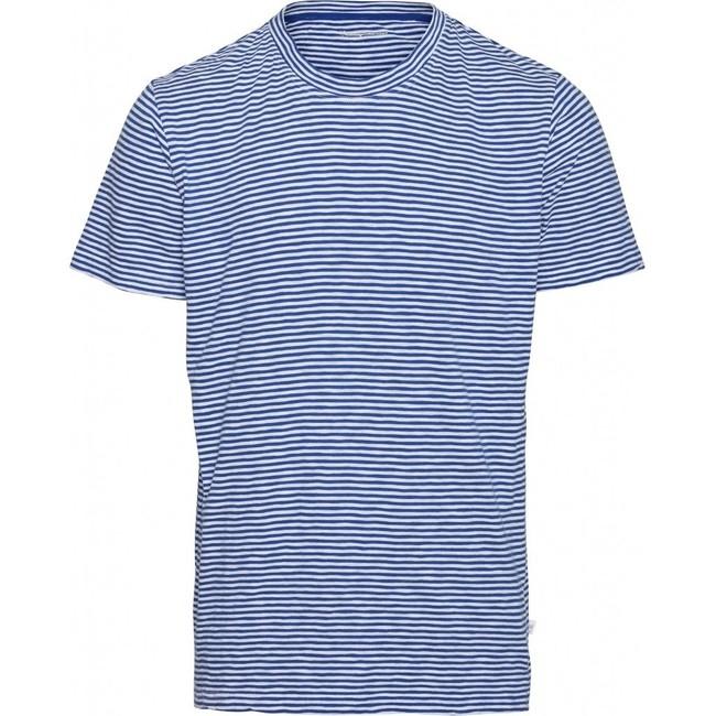 T-shirt rayé bleu et blanc en coton bio - alder - Knowledge Cotton Apparel