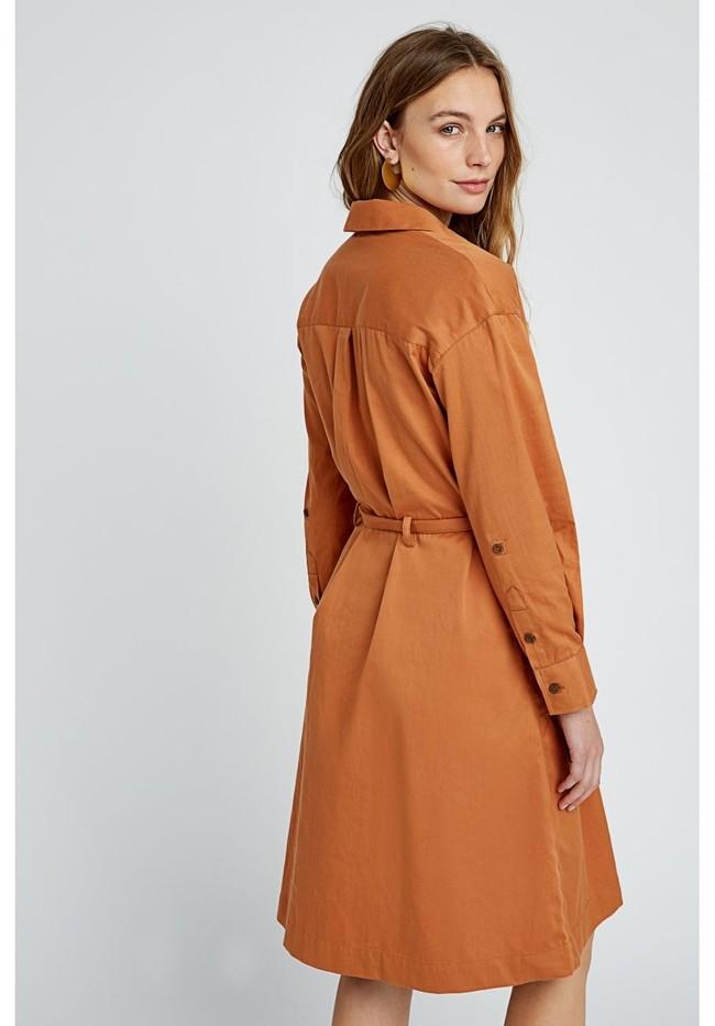 Robe longue unie camel en coton bio – penny - People Tree num 2