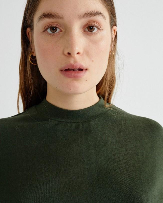 T-shirt manches 3/4 vert forêt en chanvre et coton bio - aidin - Thinking Mu num 1