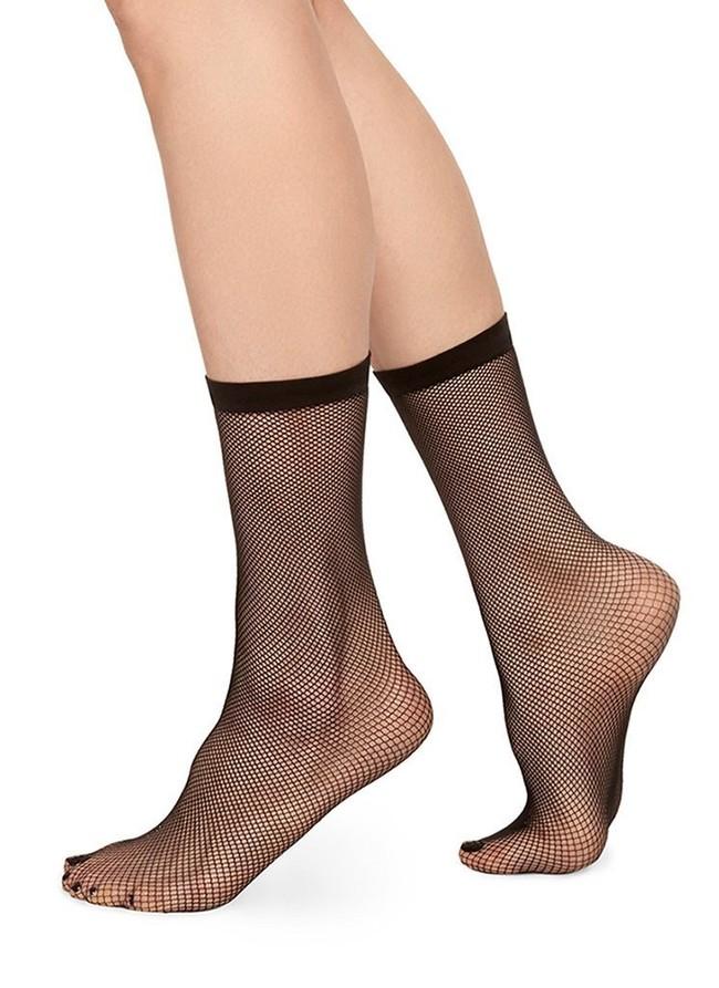 Chaussettes hautes motif résille noir en polyamide recyclé - liv net - Swedish Stockings