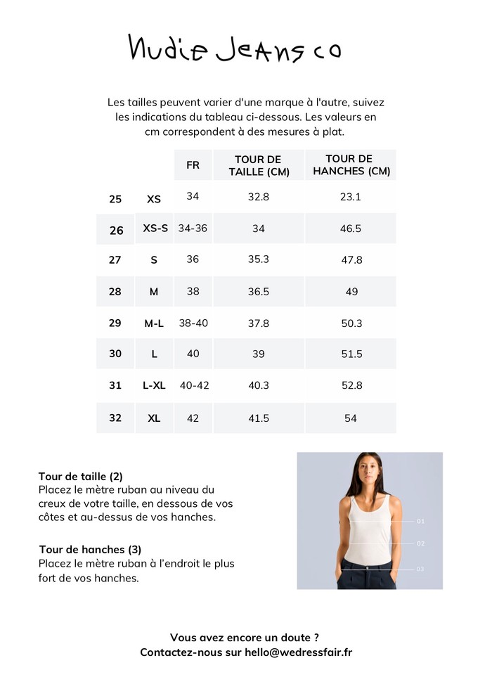 Guide de taille Nudie Jeans