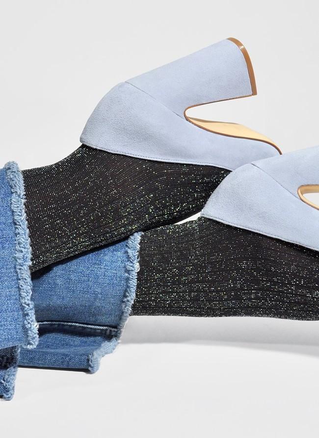 Collants à paillettes argentées 40 deniers noirs recyclés - lisa - Swedish Stockings num 2